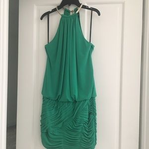 LAUNDRY GREEN HALTER MINI DRESS ROUCHED GOLD CHAIN